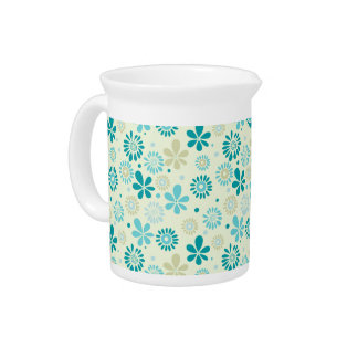 Spring Cute Teal Blue Abstract Flowers Pattern Drink Pitcher