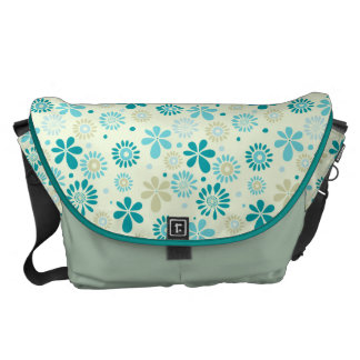 Spring Cute Teal Blue Abstract Flowers Pattern Messenger Bag