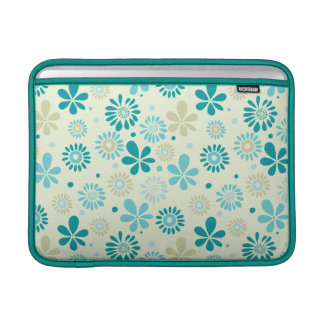 Spring Cute Teal Blue Abstract Flowers Pattern Sleeve For MacBook Air