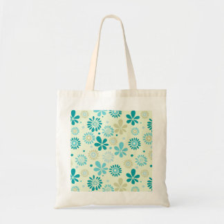 Spring Cute Teal Blue Abstract Flowers Pattern Tote Bag
