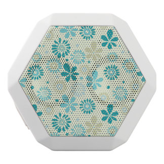 Spring Cute Teal Blue Abstract Flowers Pattern White Bluetooth Speaker