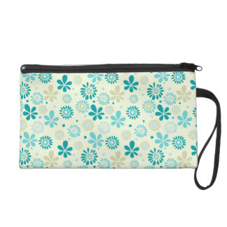 Spring Cute Teal Blue Abstract Flowers Pattern Wristlet Purse