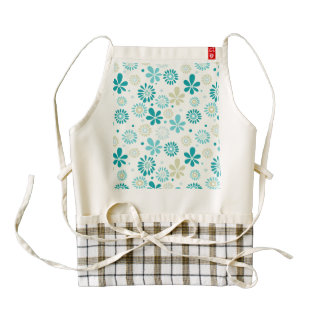 Spring Cute Teal Blue Abstract Flowers Pattern Zazzle HEART Apron