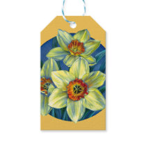 Spring daffodil fine art painting yellow gift tag