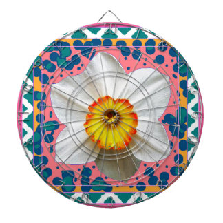 Spring Daffodil, Teal & Pink Pattern Gifts Dartboards