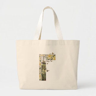 Spring Daffodils and Butterflies Large Tote Bag