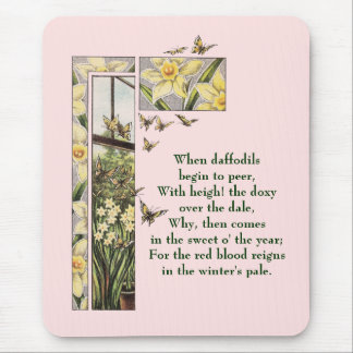 Spring Daffodils and Butterflies Mouse Pad