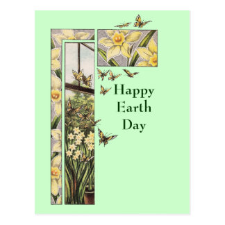 Spring Daffodils and Butterflies Postcard