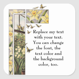 Spring Daffodils and Butterflies Square Sticker