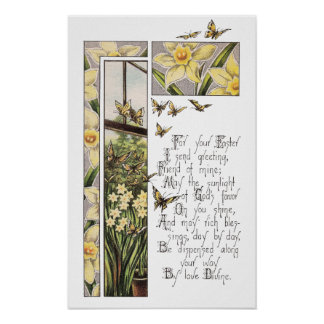 Spring Daffodils and Butterflies Vintage Easter Print
