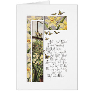 Spring Daffodils & Butterflies Vintage Easter Card