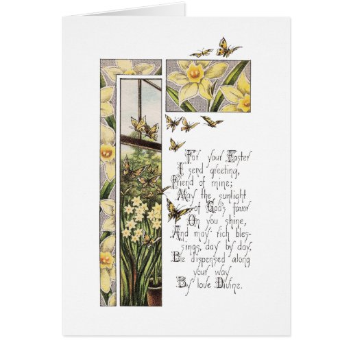 Spring Daffodils & Butterflies Vintage Easter Greeting Card