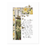 Spring Daffodils & Butterflies Vintage Easter Postcard