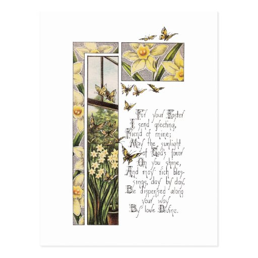 Spring Daffodils & Butterflies Vintage Easter Post Card