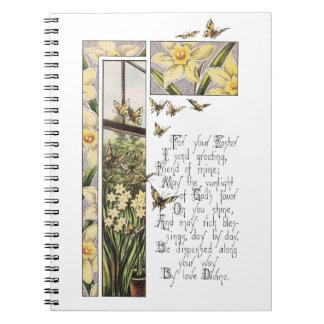 Spring Daffodils & Butterflies Vintage Easter Spiral Notebook