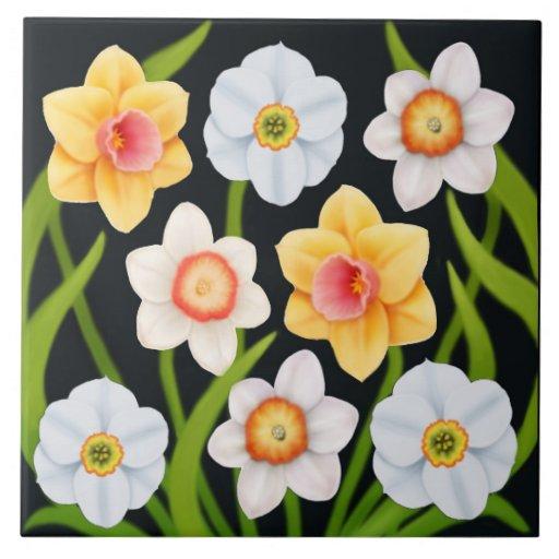 Spring Daffodils Floral Tile