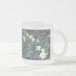 Spring Daffodils Frosted Glass Coffee Mug