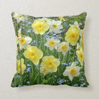 Spring daffodils print throw cushion throw pillow