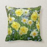 Spring daffodils print throw cushion throw pillows