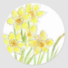 Spring Daffodils Yellow Flower Watercolor Classic Round Sticker