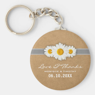 Spring Daisies Faux Rustic Paper Wedding Thank You Basic Round Button Keychain