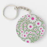 Spring Daisies White Pink Green Keychains