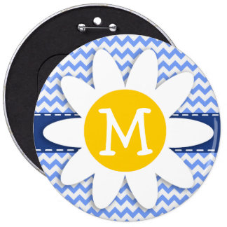 Spring Daisy Blue Chevron Pattern Pinback Buttons
