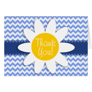 Spring Daisy; Blue Chevron Pattern Stationery Note Card
