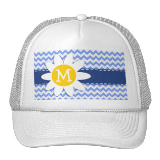 Spring Daisy; Blue Chevron Pattern Hat