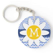Spring Daisy; Blue Chevron Pattern Keychain