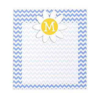 Spring Daisy; Blue Chevron Pattern Scratch Pad