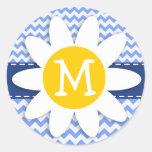 Spring Daisy; Blue Chevron Pattern Round Stickers