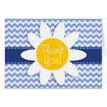 Spring Daisy; Blue Chevron Pattern Stationery Note Card