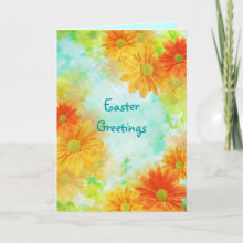 Spring Daisy Floral - Easter Card - Lovely floral collage with orange and golden yellow flowers on an aqua background. This is a delightfully different Easter look.