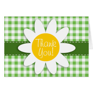 Spring Daisy; Green Checkered; Gingham Card