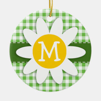 Spring Daisy; Green Checkered; Gingham Christmas Tree Ornaments