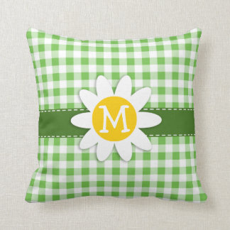 Spring Daisy; Green Checkered; Gingham Throw Pillow