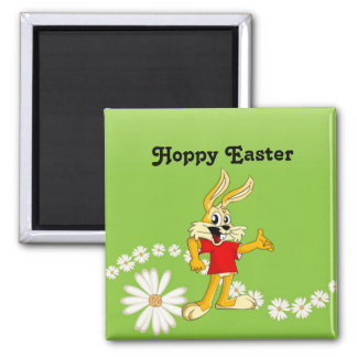 Spring Daisy Hoppy Easter Bunny 2 Inch Square Magnet