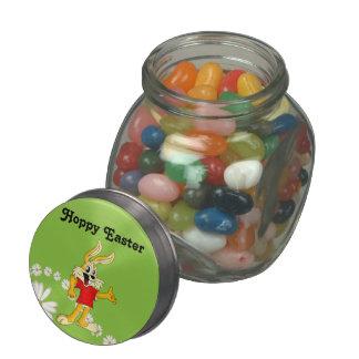 Spring Daisy Hoppy Easter Bunny Glass Candy Jars