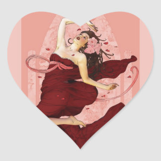 Spring Dance of Delight Heart Stickers