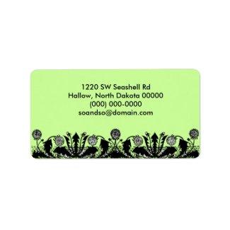 Spring Dandelion Border Green Address Label label