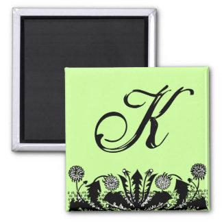 Spring Dandelion Border Monogram Fridge Magnet