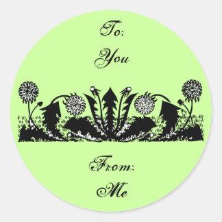 Spring Dandelion Border Sticker Label