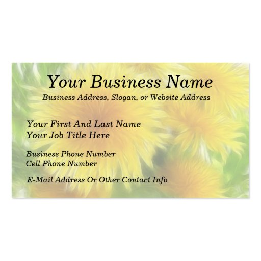 Spring Dandelion Bouquet Double-Sided Standard Business Cards (Pack Of 100)