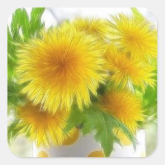 Spring Dandelion Bouquet Square Sticker