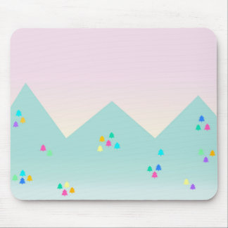 Spring Dawn Mountain Landscape in Pastel and Neon Mousemats