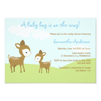 Spring Deer and Fawn Baby Shower Invite - Boy