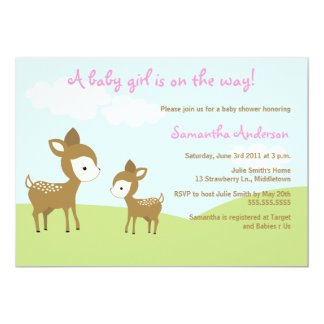 Spring Deer and Fawn Baby Shower Invite - Girl