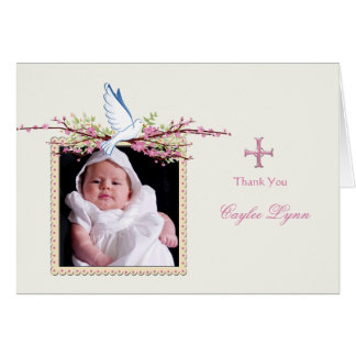 Spring Dove Religious Photo Folded Thank You Card