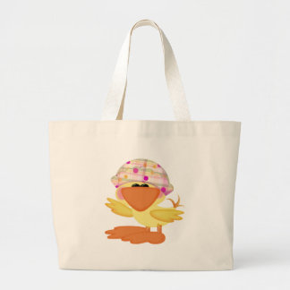 Spring Duck Hats Large Tote Bag